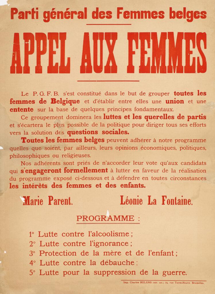 Parti Général des Femmes Belges - Appel aux Femmes
